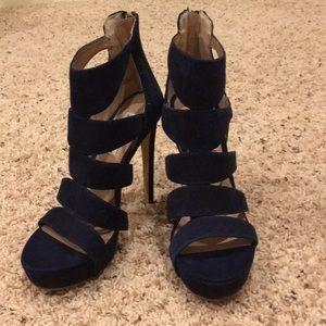 62cce8b603b Steve Madden Shoes - Steve Madden Spycee Heels Navy Blue Suede Sz 7 NEW